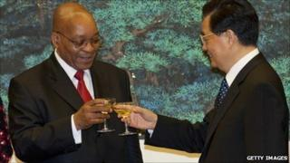 South Africa President Jacob Zuma and China President Hu Jintao