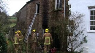 Fire at Mont Le Vaux, St Brelade