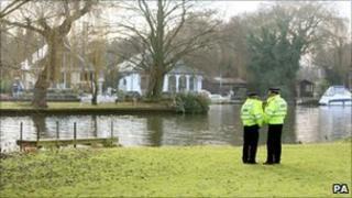 Police at the scene in Shepperton