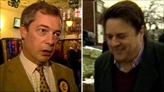 Nigel Farage and Nick Griffin campaign in Oldham