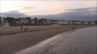 Weymouth beach at dusk