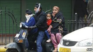 A Delhi family on a scooter on 5 January 2010