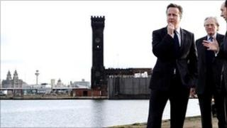 David Cameron and Lord Heseltine on the banks of the Mersey