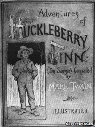 File picture of the cover of the first edition of 'Adventures of Huckleberry Finn', published in 1884