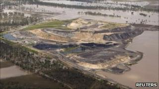 A coal mine is seen surrounded by floodwaters in Baralaba in Australia