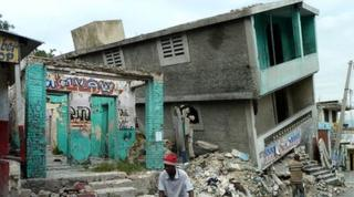 Collapsed building in Port-au-Prince