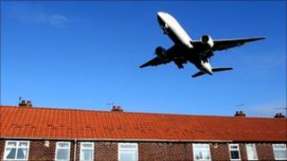 Plane landing at Manchester Airport