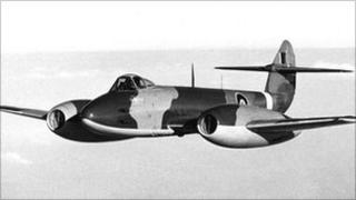 A Gloster Meteor with jet engines developed by Frank Whittle