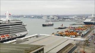 Southampton docks with several cruise ships