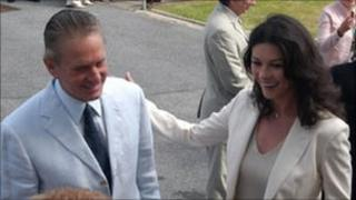 Catherine Zeta Jones and Michael Douglas on a visit to the Longfields Centre in 2005