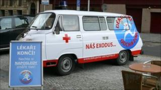 A Czech ambulance carrying the doctors' protest message