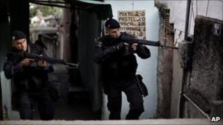 Brazilian police search the Sao Joao district
