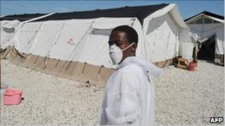 Health worker at a makeshift hospital in Haiti