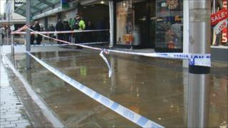 An area in Portland Street has been cordoned off