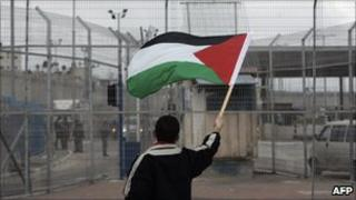 Palestinian youth protests at Qalandia - March 2010