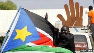 A Sudanese man cheers during a demonstration in support of the referendum in Juba on 7 January 2011
