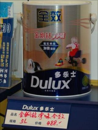 Tin of Dulux paint on a shelf in China