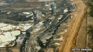 An aerial view of the oil sands in Alberta Province