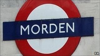 A sign at Morden Tube station