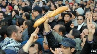 Protesters in in the Tunisian capital, Tunis