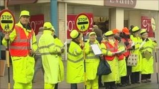 Crossing patrol staff protesting in Lowestoft