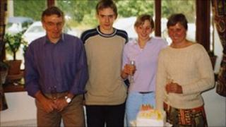 The Yeates family, with Jo Yeates second right, on her 18th birthday