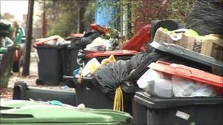 Uncollected rubbish in Leeds