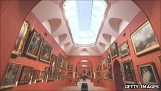 An interior view of the permanent collection of old master paintings in Dulwich Picture Gallery, which is celebrating its bicentenary
