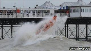 Lifeboat crew in stormy seas