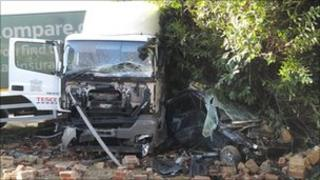 The Tesco lorry which crashed on the A4130