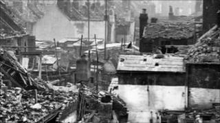 Homes destroyed during the Blitz