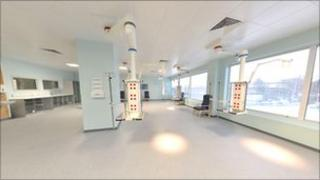 Intensive care area inside the new maternity unit at Gloucestershire Royal Hospital