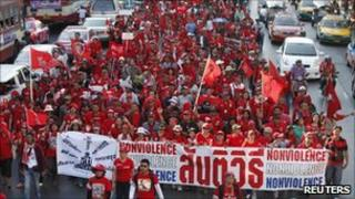 Red-shirt protesters in Bangkok on 9 January 2011