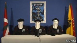 Eta members in ceasefire video (10 Jan 2011)