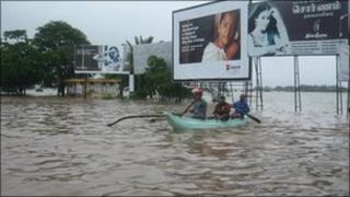 A flooded road in Batticaloa, eastern Sri Lanka