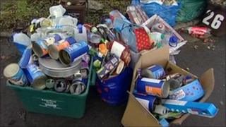 Recyclable waste on the kerbside