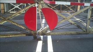 Damaged level crossing