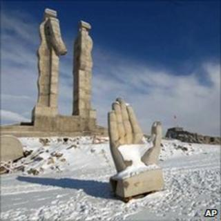 Recent file photo of the 'Statue of Humanity', Kars, Turkey