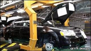 A Dodge Avenger goes through the assembly line at the Chrysler Group Sterling Heights Assembly Plant December 6, 2010 in Sterling Heights, Michigan