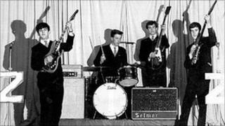 The Zodiacs play the Memorial Hall, Aberdare, in December 1964 - Phil Pendry, Peter Lipscombe, Roger Davies and Paul Wyatt