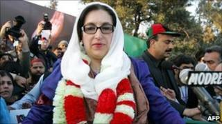 Pakistani former PM Benazir Bhutto in Rawalpindi in December 2007
