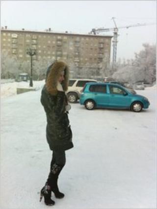 Woman walking in Novosibirsk