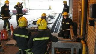 Fire fighters tackling the blaze (Picture: Essex County Fire and Rescue Service)