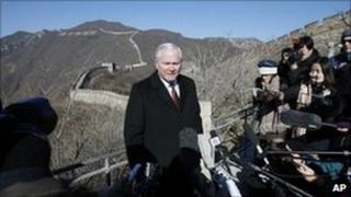US defence sec Robert Gates at Great Wall near Beijing, China 12 Jan 2011