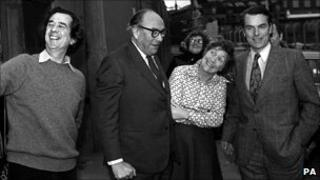William Rogers, Roy Jenkins, David Owen and Shirley Williams in Limehouse