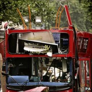 The bombed bus in Tavistock Square