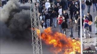 Protesters in the Ettadhamen suburb of Tunis, Tunisia (12 Jan 2011)