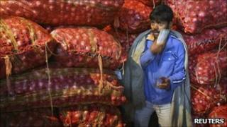 An Indian onion seller