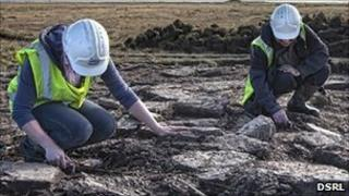 Archaeologists at cairn site. Pic: DSRL