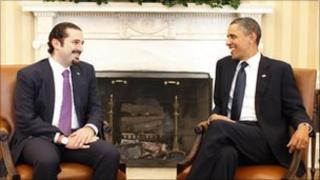 Barack Obama and Saad al-Hariri at the White House, 12 January